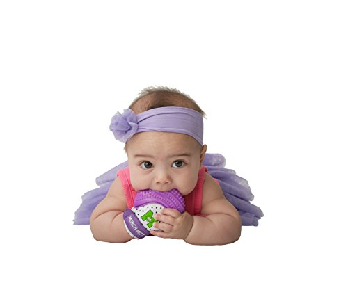 Munch Mitt® Teething Toy Stays on Baby's Hand is Self-Soothing Entertainment and Gives Pain Relief from Teething plus is Ideal Baby Shower Gift that includes Handy Travel/Laundry Bag– Set of 2 Purple by Munch Mitt (Image #4)