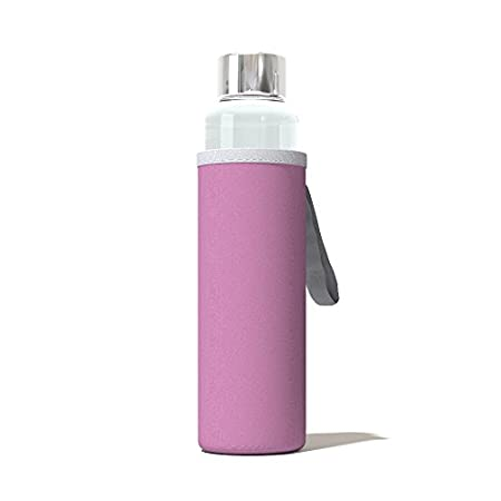 Bromvital Glass Water Bottle with Pink Thermal Sleeve