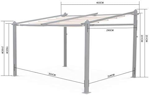Alices Garden - Pergola de Pared, Aluminio, Marron, 3x4m, Murum ...