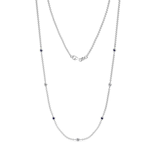 - TriJewels 7 Station Petite Blue Sapphire and Diamond on Cable Necklace 0.18 ctw in 14K White Gold