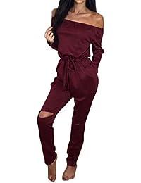 Shinekoo® Women Off-shoulder Rip Knee Jumpsuit Casual Romper Tracksuit Playsuit