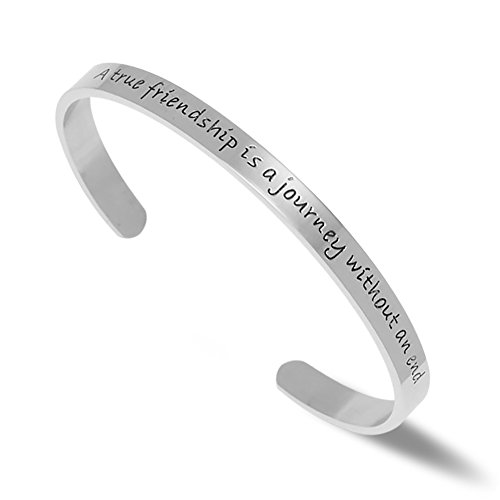 NewChiChi Stainless Steel Cuff Bangle Bracelet Engraved A True Friendship is a Journey Without an End Best Friend Gift Inspirational Jewelry (Silver)