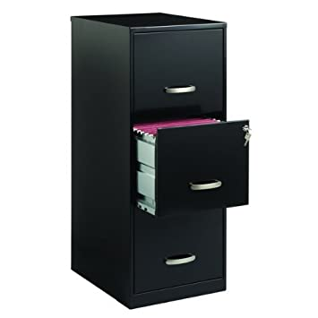 Office Designs 3 Drawer Black Steel File Cabinet, Made From Steel For Added  Durability