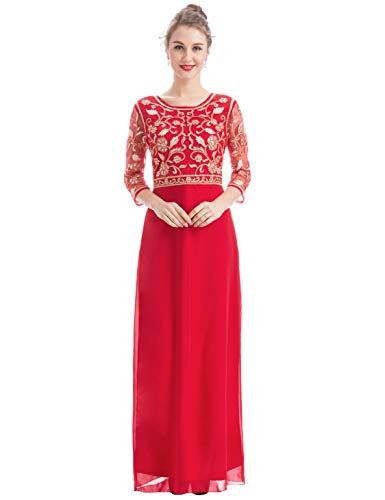 MANER Women Chiffon Beaded Sequin 3/4 Sleeve Long Gowns Prom Evening Bridesmaid Dress (M, Red/Apricot)