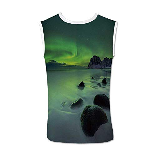 - Northern Lights Comfortable Tank Top,Magic Nature Panorama Coastline Oval Energy Sky Mist Picture for Men,XXL