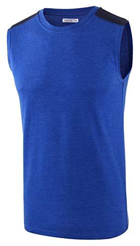 HARBETH Men's Classic Basic Sleeveless Active Tank Top Jersey Casual T Shirts H.Blue/Navy XL