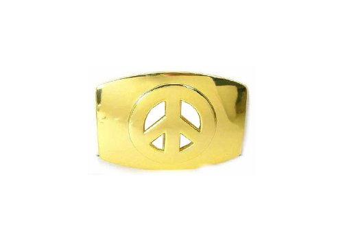 - Men's Rectangular Gold Peace Sign Belt Buckle Gold