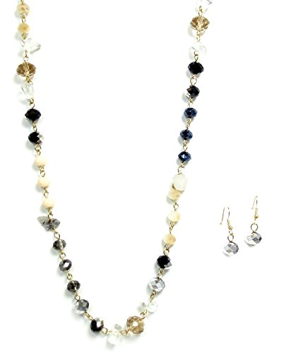 Goldtone Black Glass Crystal Long Necklace and Earring