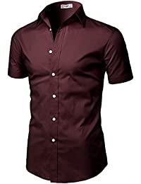 Mens Casual Slim Fit Button-Down Dress Shirts Short Sleeves Solid Colors