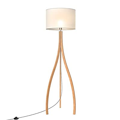 Tomons Modern Artistic Style Wood Tripod Floor Lamp, White TC Cloth Shade, E26/E27 Bulb Base, 160cm/63-Inch Height, 1.4m/4.6ft Cable With Foot Switch - FL2002