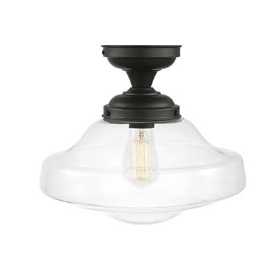 Globe Electric Hudson 2 Semi-Flush Mount Ceiling Light, Brushed Nickel Finish, Frosted Glass Shade 63357