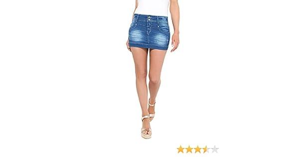 KRISP 3443-BLU-10, Falda Mujer Micro Minifalda Vaquera Desgastada ...