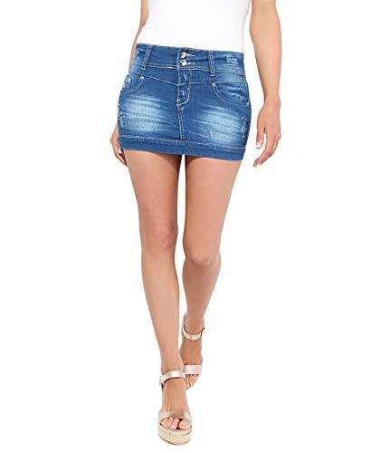 Krisp Gemmed Denim Micro-Mini Skirt, Blue (Beaded, 3443), 8, 3443-BLU-08