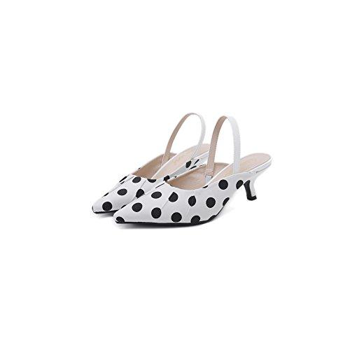 Pumps Shoes White OCHENTA Dress Heels Court Polka Kitten Women Slingback Shoes Dot pxwZ87Sq