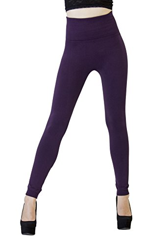D&K Monarchy Women's Seamless Full Length Thick Leggings, Purple/Compression Waist, 0-12