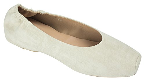 Annakastle Womens En Cuir Végétal Carré Orteil Ballet Élastique Appartements Slip On Shoes Beige