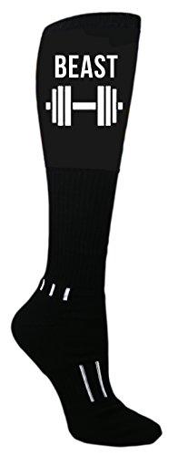 MOXY Socks Barbell Beast Black Knee-High Performance Athletic Socks