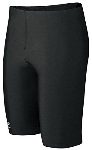 Endurance Short Tight - Speedo Men's Endurance+ Solid Jammer Swimsuit, Black, 34