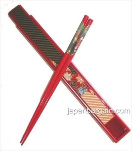 Japanese Travel Portable Chopsticks w/ Case Red #9611 by JapanBargain by JapanBargain