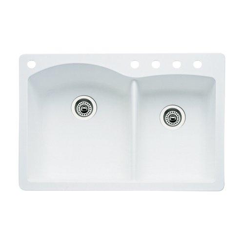 ond 5-Hole Double-Basin Drop-In or Undermount Granite Kitchen Sink, White ()