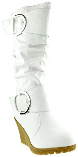 Top Moda Pure 65 Damen Slouch Wedge Stiefel Weiß