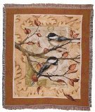 Autumn Leaves Chickadee Deluxe Woven Tapestry Throw (Autumn Leaves Tessuto)
