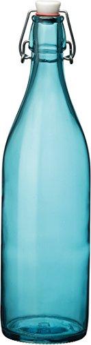 Bottle Oil Gourmet (Bormioli Rocco Giara Sky Blue Glass Bottle With Stopper 33 3/4oz)