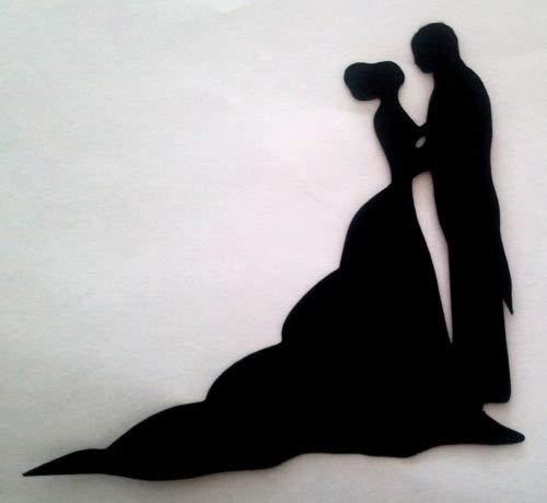 5 x Bride /& Groom Wedding #5 Silhouette Die Cuts Shapes Black Card