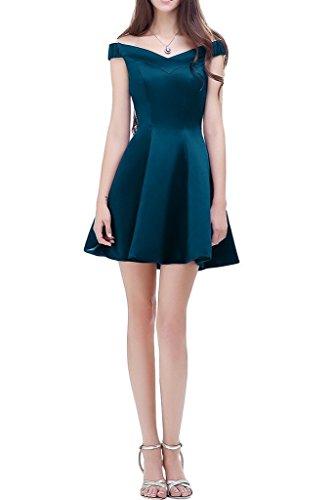 Festlichkleider mia Braut Kurzarm Jugendweihe Satin La Mini Schulterfrei Abendkleider Dunkel Blau Cocktailkleider mit Kleider 6ABq01n