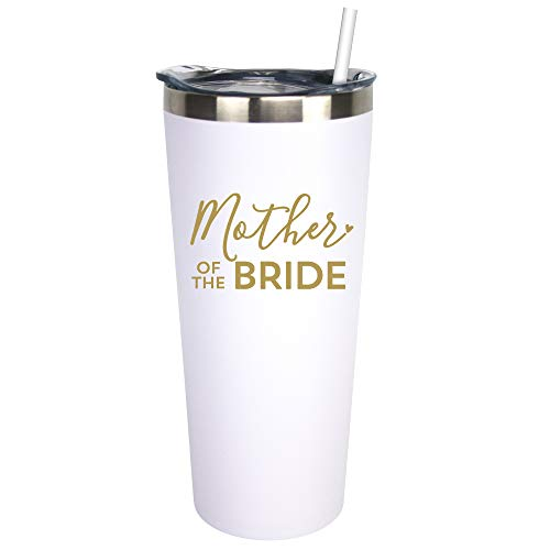 Mother Of The Bride - 22 oz White Stainless Steel Insulated Wine Tumbler with Lid and Straw (White, Metallic Gold)