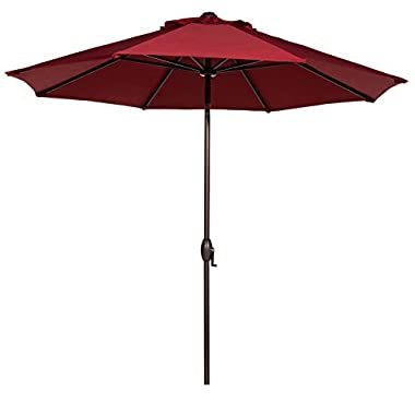 Abba Patio 9' Patio Umbrella Outdoor Table Market Umbrella with Push Button Tilt/Crank, 8 Ribs, Red