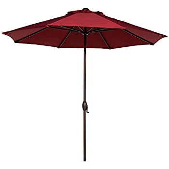 Abba Patio 9u0027 Patio Umbrella Outdoor Table Market Umbrella With Push Button  Tilt And Crank