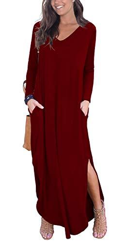- GRECERELLE Women's Casual Loose Pocket Long Dress Long Sleeve Split Maxi Dresses Wine Red 2XL