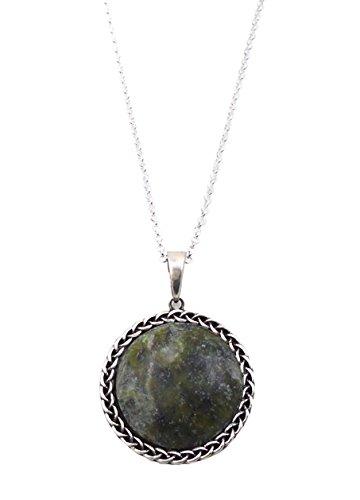 (Irish Connemara Marble Round Pendant Necklace)