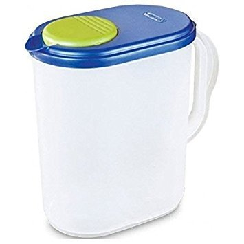 1 Gallon Pitcher Blue Lid w/Lime tab Freezer and Dishwasher Safe Mix Drinks right in the Pitcher Water Tea Juices BPA-free and phthalate-free (Lid With Pitcher Gallon Plastic 1)