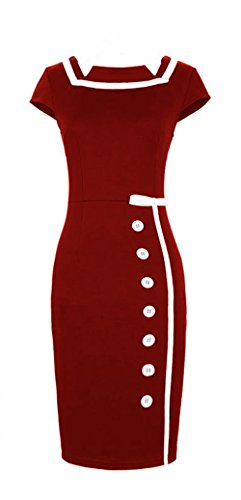 Merope J Woman Navy Sailor Nautical Button Decor Midi Vintage Dress (2XL, Red)