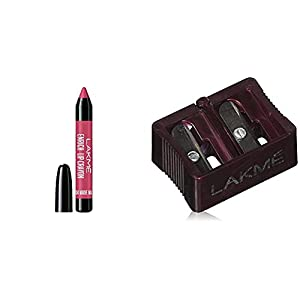 Lakme Enrich Lip Crayon, Mauve Magic, Gives Smooth Matte Finish, 14.4 g & Lakme Dual Sharpener