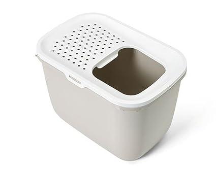 Savic - Toilette Hop In - Arenero cerrado para gatos, con entrada en la parte superior, Bianco / Antracite: Amazon.es: Deportes y aire libre