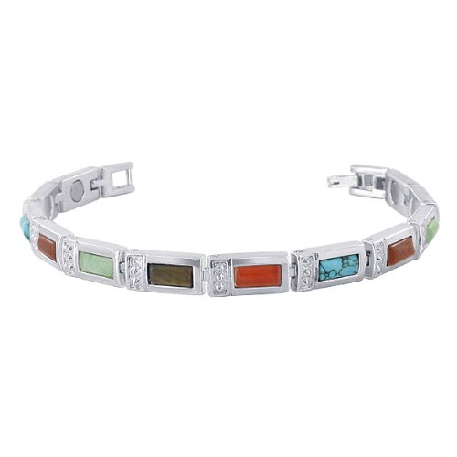 Multi Stone Magnetic Bracelet (Gem Avenue Multi Stone 7mm wide Magnetic Link Therapy Bracelet 7.5 inch Long with Fold over Clasp)