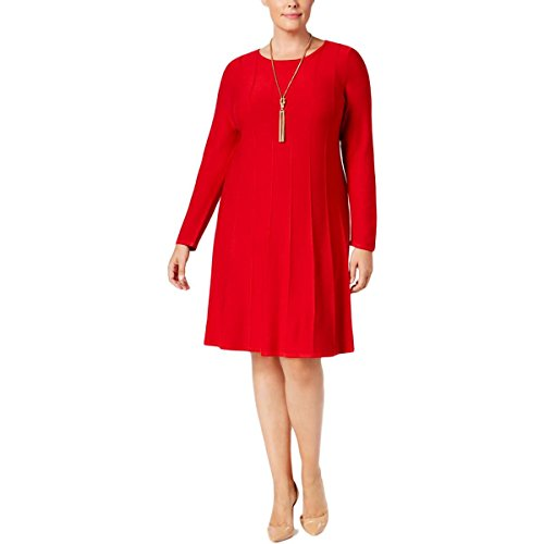 Jessica Howard Womens Plus Knit Pintuck Sweaterdress Red 2X