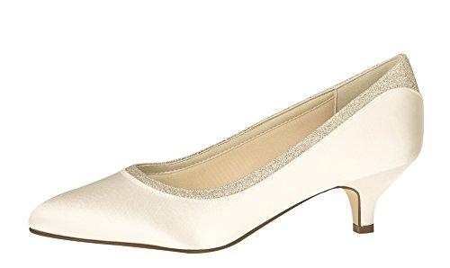 Scarpe Da Sposa Arcobaleno Club Bobbie - Avorio / Bianco Satin Glitter - Pumps Ladies Avorio / Crema