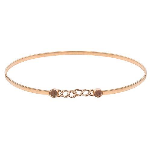 Women Dress Belt Skinny Waist Belt with Interlocking Buckle, Gold-Circle3, Large (Interlocking Buckle)
