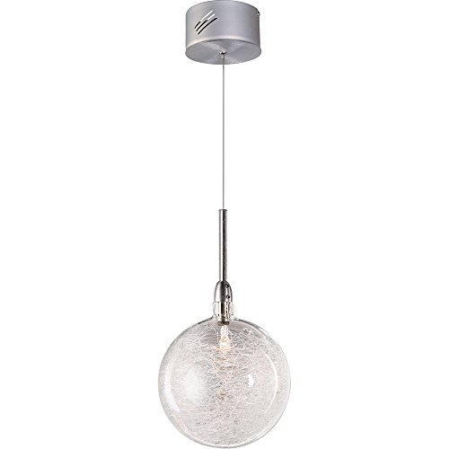 (ET2 E20108-79 Starburst 1-Light Pendant Mini Pendant, Polished Chrome Finish, Threaded Glass, 12V G4 Xenon Bulb, 7.5W Max., Dry Safety Rated, 2700K Color Temp., Acrylic Shade Material, 5418 Rated Lumens)