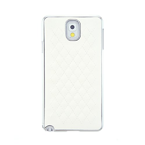 CaseBee® Premium Series - Stylish Quilted PU Leather Back w/ Chrome Bumper Samsung Galaxy Note 3 N9000 Note III Case (Package includes Screen Protector) (White)