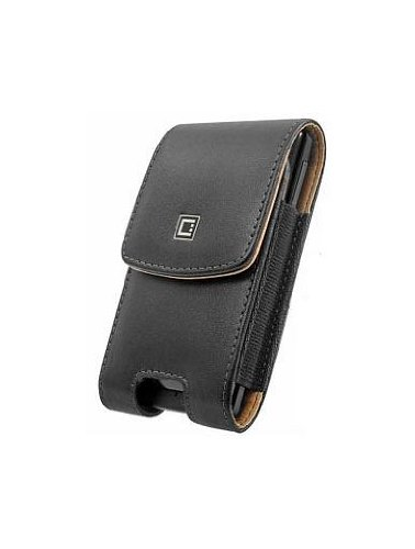 (Executive Top Load Stitched Leather Case Pouch With Spring And Swivel Clip Black Compatible Kyocera Brigadier)