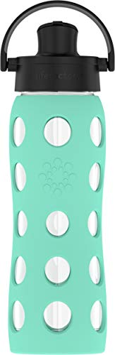 Lifefactory 22-Ounce BPA-Free Glass Water Bottle with Active Flip Cap and Protective Silicone Sleeve, Sea Green