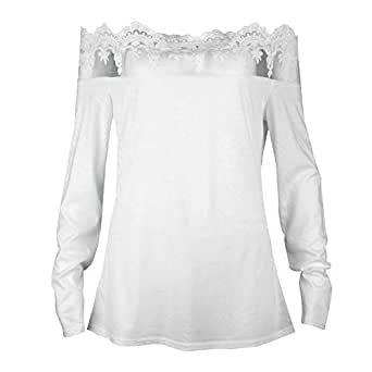 bb073d72 Image Unavailable. Image not available for. Color: Fashion Women's Off  Shoulder Blouses Lace Tops Long Sleeve ...