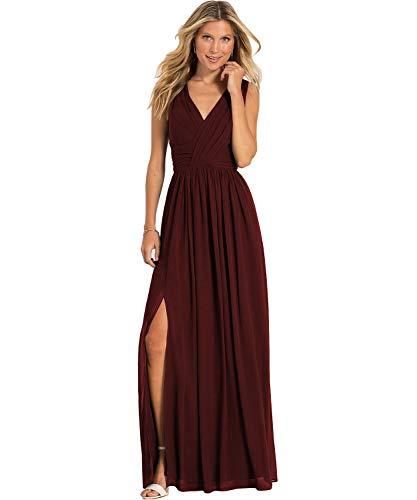 (Yilis Women's Double V Neck A Line Slit Chiffon Chiffon Bridesmaid Dress Long Formal Prom Wedding Party Gown Burgundy)