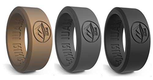 MAUI RINGS BEST Silicone Wedding Ring by SOLID STYLE Engagement Rings Silicone Band for Men Wedding Rubber Bands Mens Ring Men Wedding Band SAFE ring Sport Gym (Black/Dark Grey/Gold, 9)