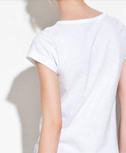 Women Flower Pattern Colorful Skull Print White T-shirt (XX-Large)